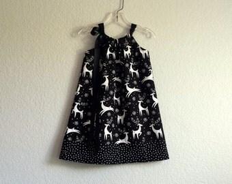 Little Girls Black Dress - White Deer on Black - White Deer and Polka Dots - Toddler Sun Dress- Size 12m, 18m, 2T, 3T, 4T, 5, 6, 8, or 10