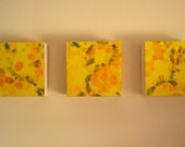 Honeybee triptych - Original mixed media paintings