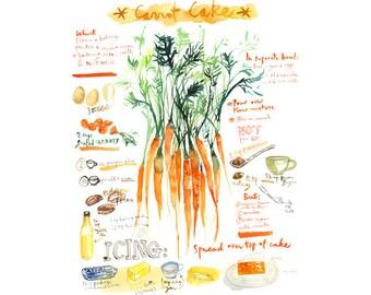 Carrot cake recipe print, Kitchen art, Watercolor print, Cake painting, Orange kitchen decor, Wall art, 8X10, Food artwork, Kitchen poster