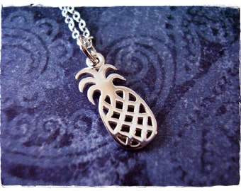 Silver Pineapple Necklace - Sterling Silver Pineapple Charm on a Delicate Sterling Silver Cable Chain or Charm Only