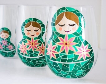 Matryoshka Hand Painted Wine Glasses- Green Mosaic Russian Nesting Dolls- Set of 4