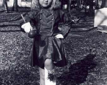 Little Girl Dressed in MAJORETTE UNIFORM MARCHING For the Camera Photo Circa 1950s