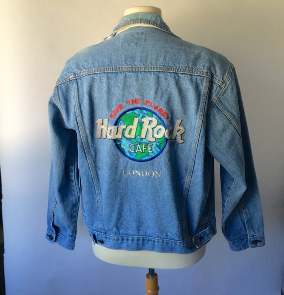 Vintage Hard Rock Cafe London Denim Jean Jacket Embroidered