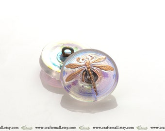 Handmade Czech glass button - 18mm lime,pink, and gold dragonfly button - 15055/8
