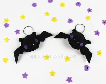 Black Bat Keychain - Halloween Keyring, Trick or Treat, Felt Bat, Party Favors