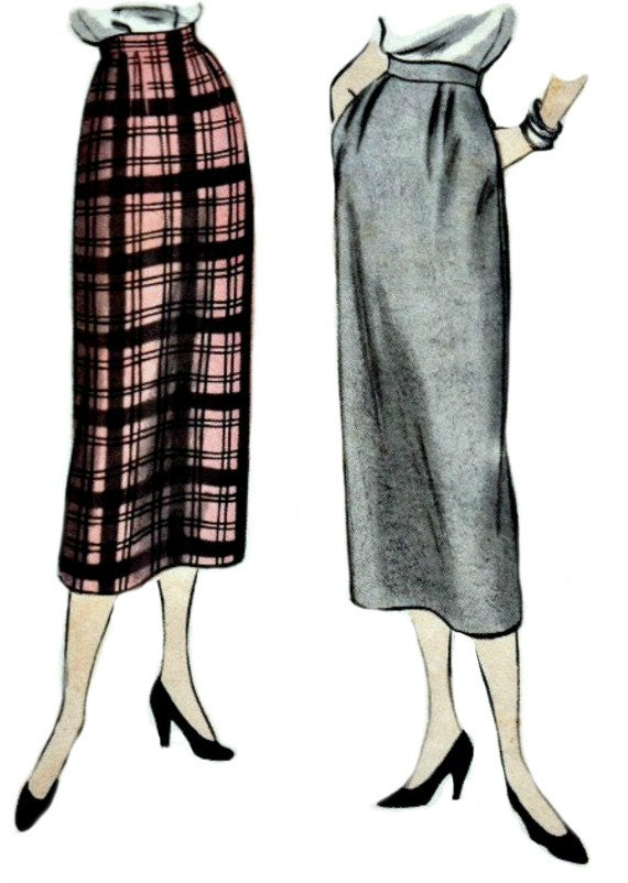 1950 slim skirt pattern with kick pleat vogue 3333