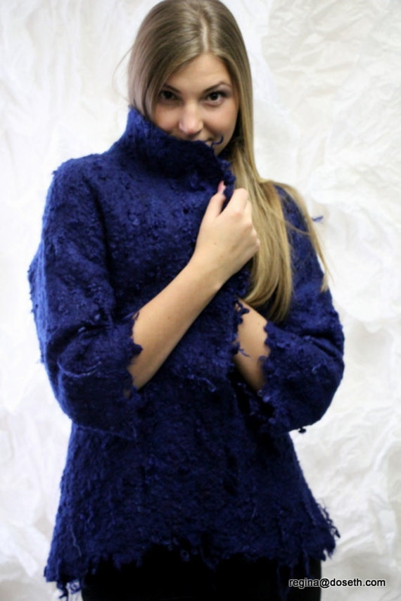 "NEW COLLECTION Felted jacket ""Dark blue curls"""