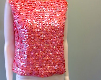 Pink Sequined Bold Pink Sequined 1960s Sweater vest