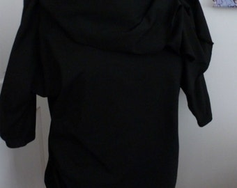 Black cotton lycra tunic top/dress with drape collar