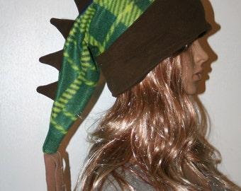Dragon Tail Hat Green Brown Dinosaur Alligator Winter Snow Fleece Ski Snowboarding Hat