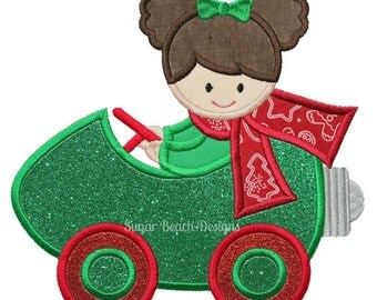 Christmas Cruisin' Light Bulb Car Applique - Machine Embroidery Design file  (098)