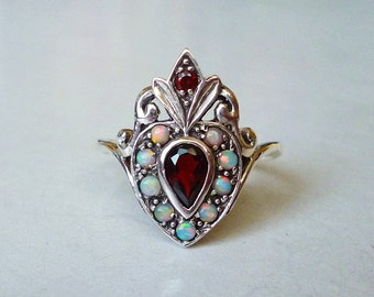 Amazing Sacred Heart Ring w/ Garnet and Opal in Sterling Silver Size 7 or 8 / Semiprecious Gemstone Victorian Nouveau Memento Mori DDLM Boho