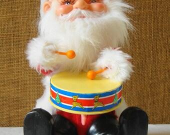 VINTAGE SANTA CLAUS Drumming Santa Retro Super Cute Wind Up Drumming Santa Vintage Christmas Santa Claus Holiday Decor Santa Old Saint Nick