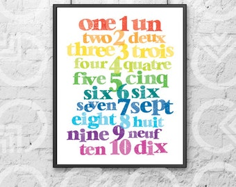 "Instant Download - Printable - 8""x10"" Art Print - French and English Numbers - Nursery Decor - Bilingual Baby - Colorful - Educational"