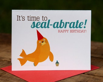 It's Time to Seal-abrate Birthday Card, Happy, Cupcake, Seal, Yellow, Red, Blue, Marine, Sea, Nautical, Party Hat