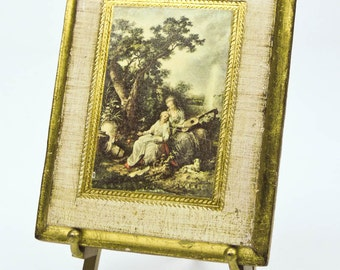 Picture Plaque Italian Miniature Antiqued Florentine Venetian Scene with Brass Easel Tabletop Home Decor