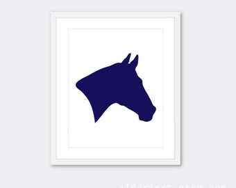 Horse Art Print - Horse Head Pirnt - Horse Wall Art - Equestrian Decor - Navy Blue and White - Southwest Rustic Modern Art - Aldari Art
