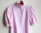 Pink striped babydoll Blouse, Ruffles cotton blouse, Puffed half sleeves and heart buttons size S M