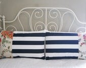 Queen Pillow Shams - Set of 2 Queen Pillow Shams, 20x30, navy stripe and floral, patchwork, bedding