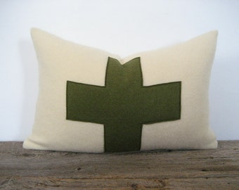 Wool Blanket Lumbar Pillow Cover Army Green Swiss Cross Zipper 12 x 18