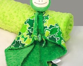 Froggy Security Blanket, Frog Lovey Blanket, Baby Blanket, Stuffed Animal, Baby Toy, Minky Blanket, Animal Head Blanket