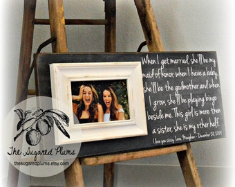 Sister Gift, Gift for Sister, Personalized Picture Frame 8x20 The Sugared Plums