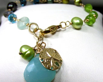 All The Colors in the Deep Blue Sea - Artisan Handmade Bracelet, Gemstones, and Cultured Fresh Water Pearls with14K Gold Filled Wire