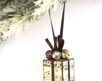 Small Christmas Tree Ornament Sheet Music Brown and Gold Christmas Present Package Decoration Jingle Bells
