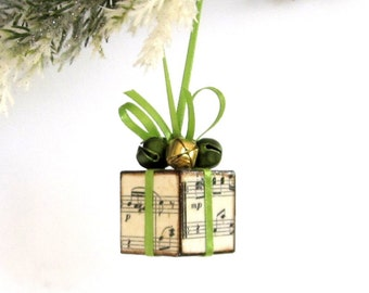 Small Christmas Tree Ornament Sheet Music Lime and Olive Green and Gold Christmas Present  Package Decoration Jingle Bells