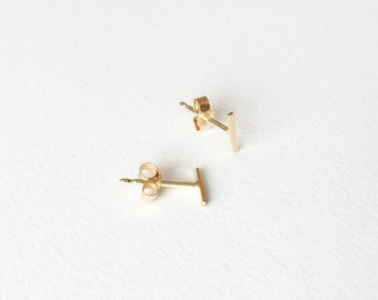 tiny gold bar post earrings. solid 14k yellow gold. super delicate. single or pair • • morse earring
