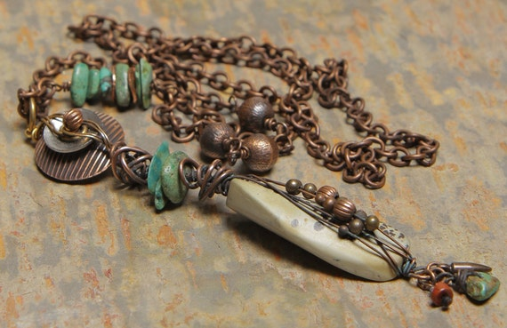 Chinook necklace: wire wrapped jasper, copper & turquoise