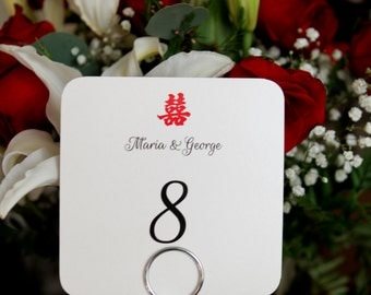 Double Happiness Chinese Table Numbers Sign Custom Customize Bride and Groom Names Simple Elegant