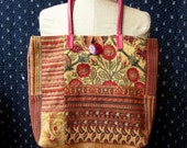 Handmade Tote Bag Purse with Matching Zip Pouch, Woven Tapastry and Velvet Upholstery Fabrics, Leather Straps, Lined, Interior Pocket