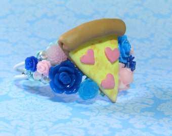 Kawaii Junk Food Pizza Bracelet by Rudy Fig, Pizza party, snacks, Cuff filigree heart jewelry, pepperoni, glitter