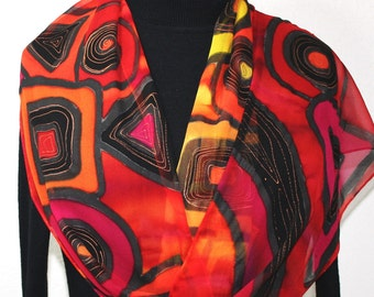 Silk Scarf Hand Painted Silk Shawl Red Orange Yellow.Hand Dyed Silk Scarf BERRY DELIGHT - Several Sizes. Birthday Gift Scarf Gift-Wrapped