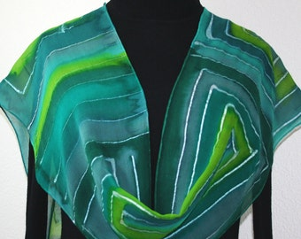 Green Silk Scarf. Hand Painted Chiffon Silk Shawl. Teal Hand Dyed Silk Scarf GREEN MIRRORS Extra Long 11x90 Birthday Gift Scarf Gift-Wrapped