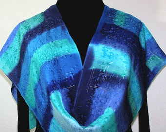 Silk Scarf Hand Painted Silk Shawl Teal Turquoise Blue Hand Dyed Silk Scarf CARIBBEAN RAIN Size 11x60 Birthday Gift Scarf Gift-Wrapped Scarf