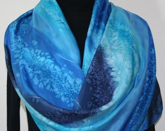 Blue Silk Shawl Hand Painted. Blue, Turquoise & Navy Handmade Scarf SURFING WAVES 2. Extra-Large 22x72. Anniversary Gift. Free Gift-Wrapping
