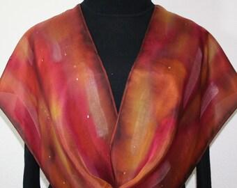 Burgundy Silk Scarf. Brown Hand Painted Scarf. Terracotta Handmade Silk Shawl AUTUMN MEMORIES. Size 11x60. Bridesmaid Gift. Gift-Wrapped