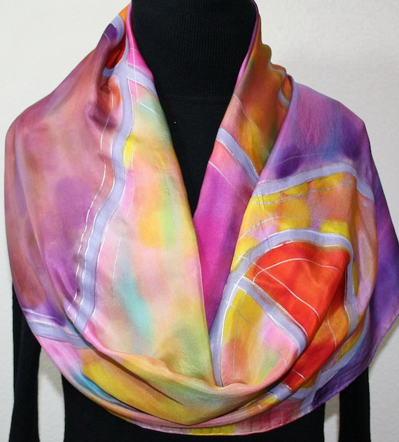 Silk Scarf Hand Painted Silk Shawl Lavender Coral Yellow Hand Dyed Scarf SUMMER MELODY Large 14x72 Birthday Gift Scarf Gift-Wrapped Scarf