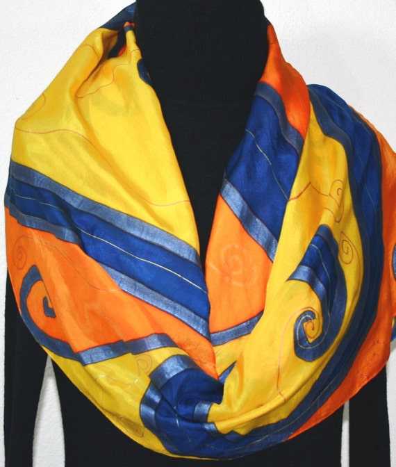 Silk Scarf Hand Painted Silk Shawl Yellow Orange Blue Hand Dyed Silk Scarf SUNNY WAVES Birthday Gift, Gift-Wrapped Offered in Several SIZES