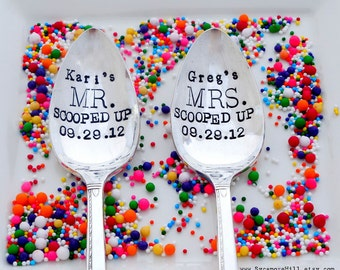 SCOOPED UP. Ice Cream Spoons. Custom Stamped Tablespoons.  His Hers Spoons. Wedding Gift Idea. Anniversary Gift for Couple. ORIGINAL Design