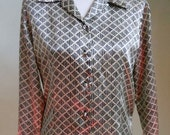 """Vintage 80's Tess Long Sleeved Blouses with BLK/Gold Rope-Like Geometric Print Bust 41"""" Waist 36"""""""