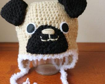 Crochet Pug Hat  (Custom Size) Made To Order