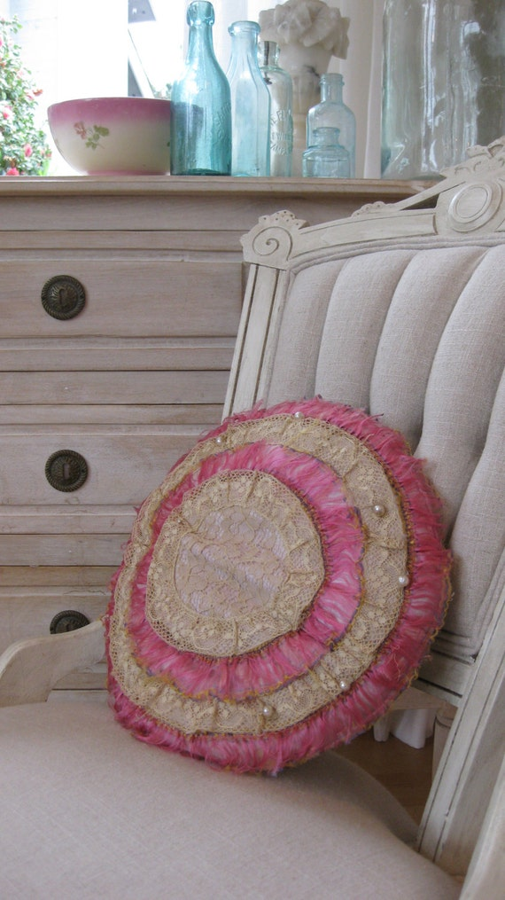 Vintage Victorian pillow round lace pink pearls Shabby