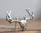 Deer head silver plated Necklace Bohemian Free people style Wild Nature Woodland Animal Retro layring necklace inspired by Inali
