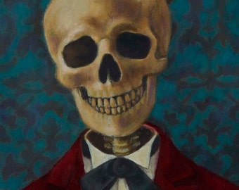 Skeleton Portrait - Gothic Skull - Victorian Skull - Blue - Halloween Print - halloween Skeleton - Steampunk Skull