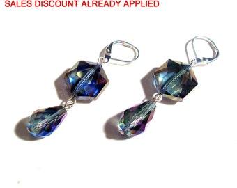 Dangle Earrings, Rainbow Blue Tear Drop Crystal Earrings, 2' Dangle Earrings