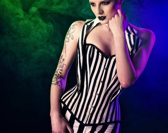 Gothic striped punk black and white corset costume/ cosplay. Size 8-10