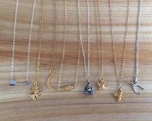 Petite talisman charm necklace - choose from arrow, lion, moon, wing, buddha, bird, bee, or wishbone